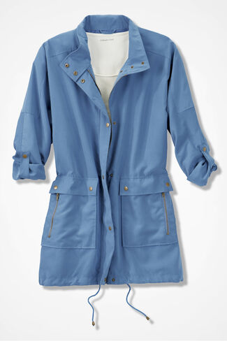 Modern Microfiber Coat, Slate Blue, large