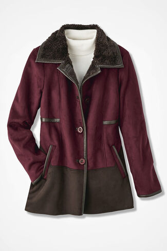 Two-Tone Faux Shearling Jacket, Burgundy, large