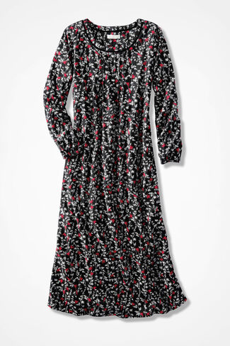 Redbirds Print Flannel Nightgown, Black Multi, large