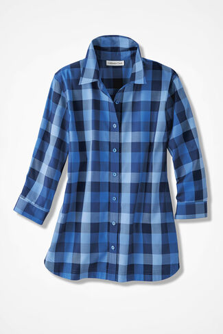 Paxton Plaid Easy Care Shirt, French Blue, large