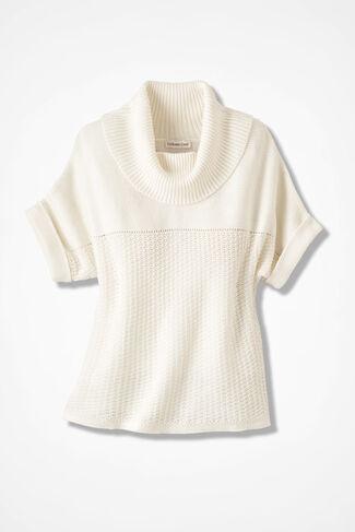 Mixed-Stitch Dolman Sweater, Seasalt, large