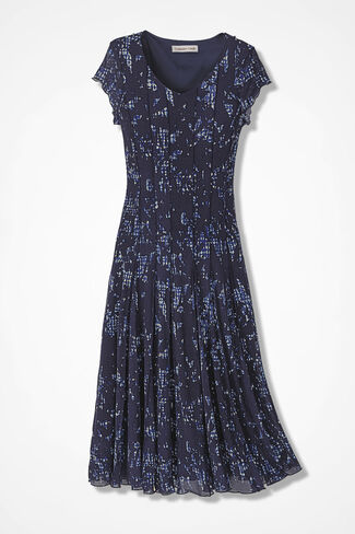 Blue Shadow Floral Mesh Knit Dress, Blue, large