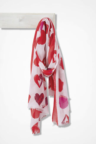 Watercolor Hearts Scarf, Red Multi, large
