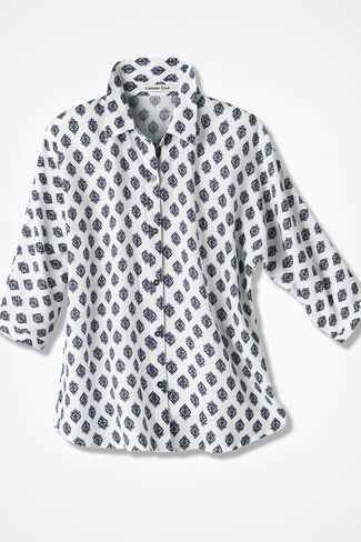 Medallion Print Tencel® Dolman Shirt, Ivory, large