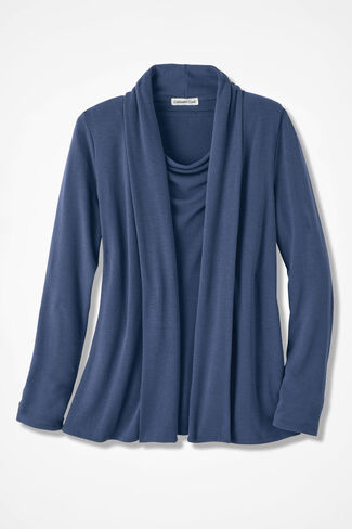 Soft Drape Cardigan, Ranch Blue, large
