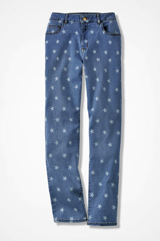 The Creek® Star Print Ankle Jean, Light Wash, large