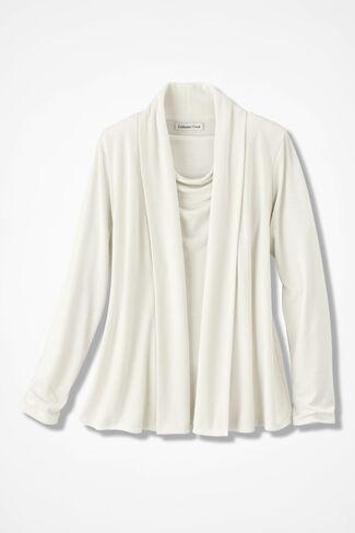 Soft Drape Cardigan, Antique White, large