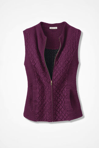 Crinkle Sueded Vest, Mulberry, large
