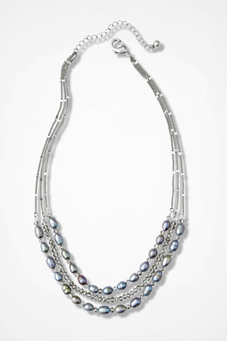 Glissando Pearl and Crystal Necklace, Grey, large