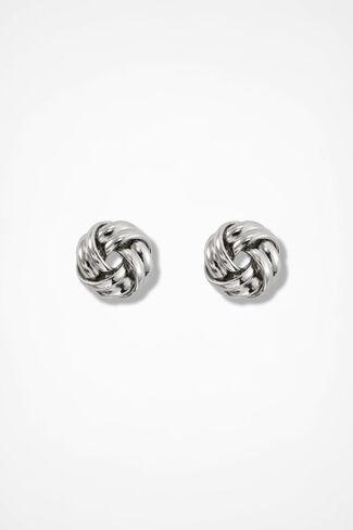 Knot Earrings, Silver, large