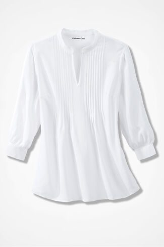 Pleated Popover Tunic, White, large