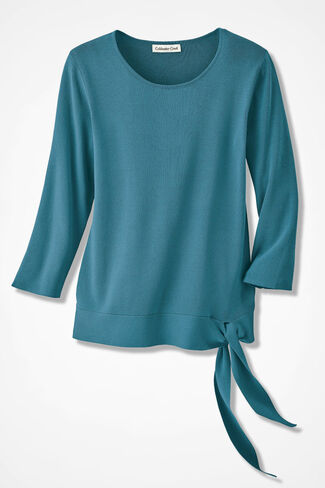 Elegance Side-Tie Sweater, Cerulean, large