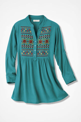 Taos Treasure Embroidered Tunic, Teal, large