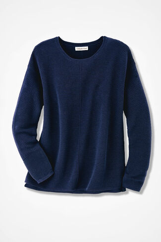 Ottoman Rib Sweater, Navy, large