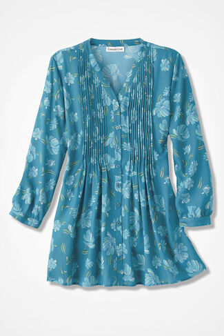 Rhapsody in Blooms Tunic, Cerulean, large