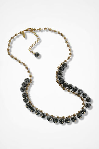 Midnight Rhinestone Necklace by Lenora Dame, Gold, large