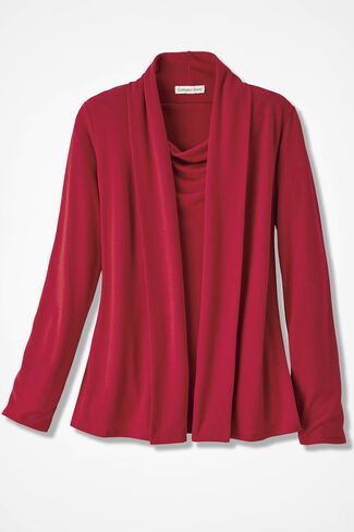 Soft Drape Cardigan, Fresh Red, large