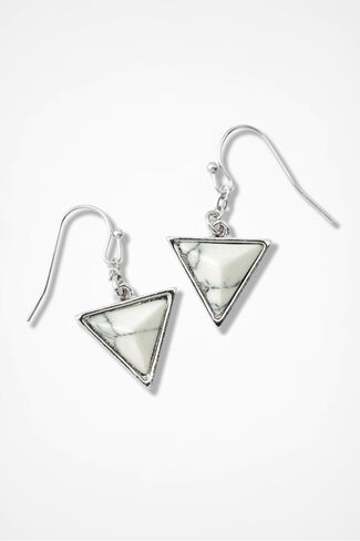 Triangle Earrings, Black/White, large