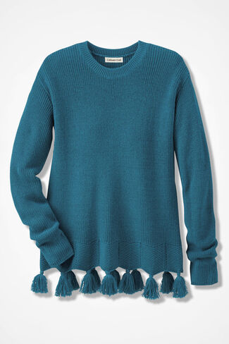 Pompom Perfect Shaker Sweater, Mallard Blue, large