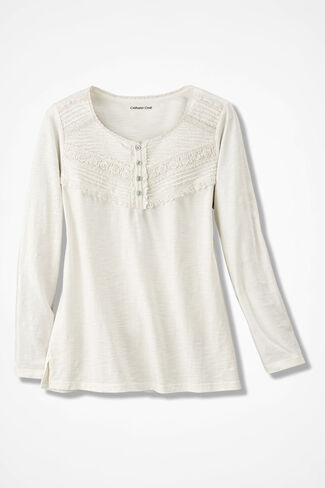 Lace Charmed Henley, Ivory, large