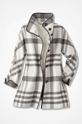 Dashing Plaid Swing Coat, Ivory Multi, large