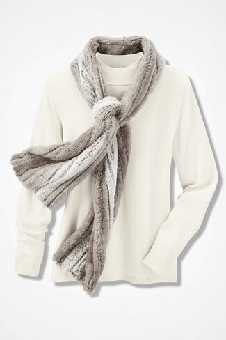 Supersoft Faux Fur Scarf, Natural, large