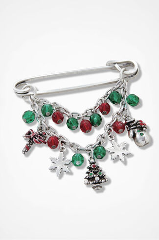Festive Touches Sweater Pin, Silver, large