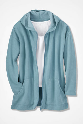 Colorwashed Fleece Full-Zip Jacket, Robins Egg, large