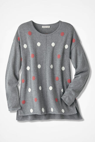 Dots Everywhere High/Low Sweater, Charcoal, large