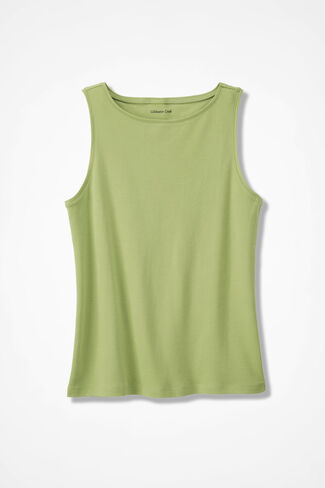 Essential Supima Boatneck Tank, Willow Green, large