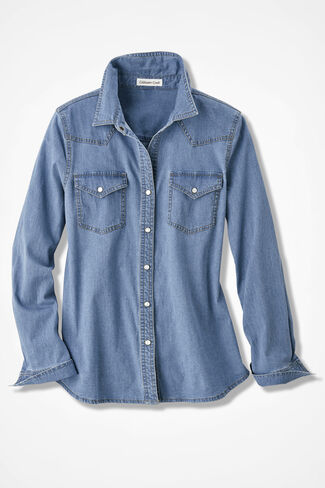 Snap-To-It Denim Shirt, Light Wash, large