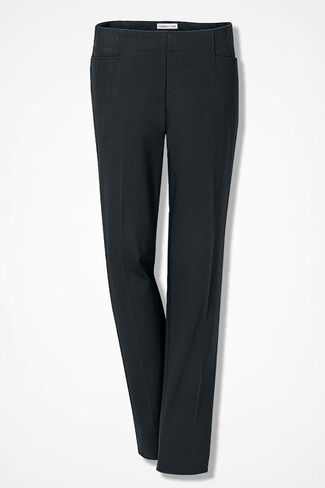 Stretch Twill Side-Zip Ankle Pants, Black, large