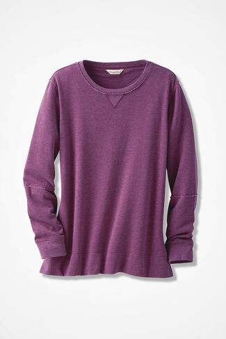 Colorwashed Fleece Pullover, Mulberry, large
