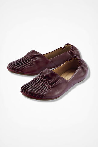 Pintuck Leather Flats, Blackberry, large