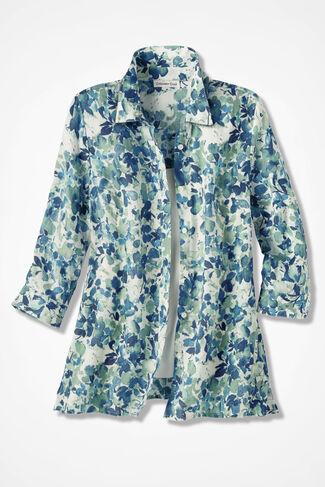Watercolor Print Linen Big Shirt, Agave Green, large