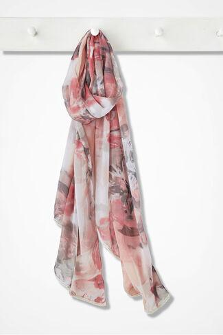 Flora Crochet-Trim Scarf, Pink Multi, large