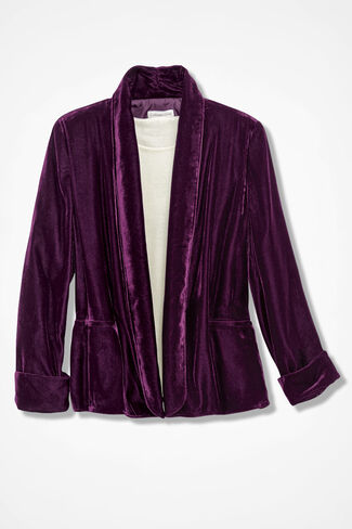 Easygoing Velvet Jacket, Rich Raisin, large