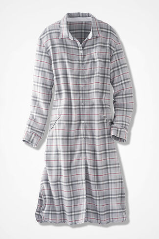 Plaid Flannel Sleep Shirt, Grey, large