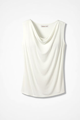 Destinations Drape-Neck Shell, Ivory, large