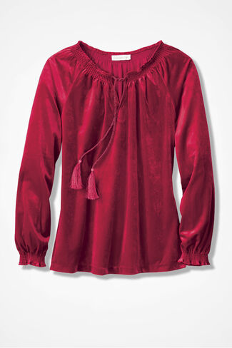 Velvet Poet's Top, Dover Red, large