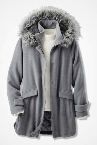 Purely Plush Hooded Fleece Coat, Heather Grey, large