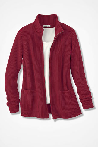 Shaker Zip-Front Cardigan, Dover Red, large