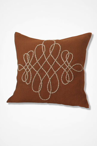 Flourishes Embroidered Pillows, Bittersweet, large