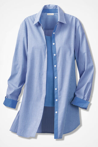 Wrinkle-Resist Stretch Pinstripe Tunic, French Blue, large