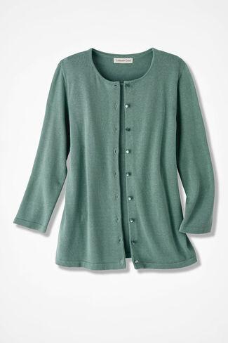 Silk/Cotton Cardigan, Dusty Sage, large