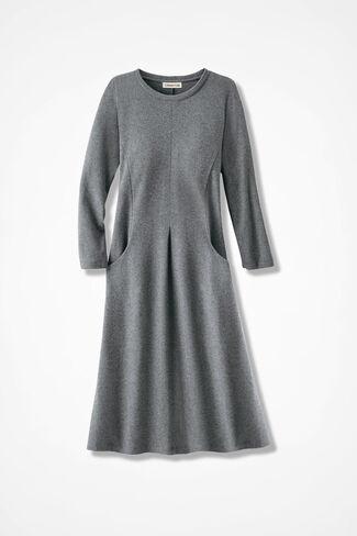 Anytime Crew-Neck Knit Dress, Heather Grey, large