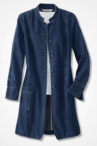 Denim Duster, Medium Wash, large