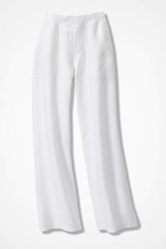 Knit-Waist Linen Pants, White, large
