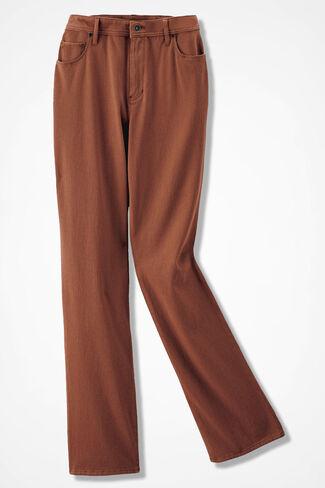 Knit Denim Straight-Leg Jeans, Spice, large