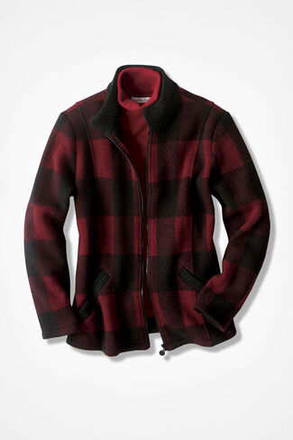 Buffalo Check Boiled Wool Sweater Jacket, Red/Black, large